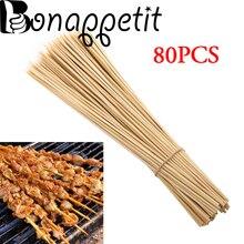 80 шт./лот барбекю коврики для гриля бамбуковые шампуры для гриля шашлык деревянные кебаб Шпажки для фруктов одноразовые палочки для барбекю