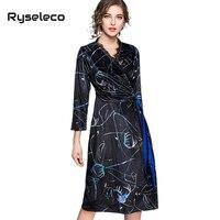 Ryseleco Thời Trang In Nhung Mùa Thu A-Line Bọc Dresses Sexy V-Neck Thanh Lịch Nữ Floral Ren Patches Đảng Phím Shift Vestidos