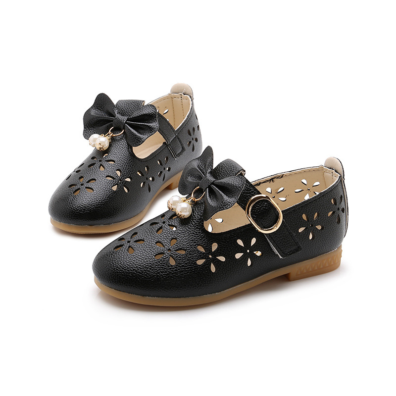Hollow Toddler Girl Shoes Size 6 2018 New Prinses Black Leather Shoes School Kids Party Big Girls For Dress Flower Bow Shoes Red