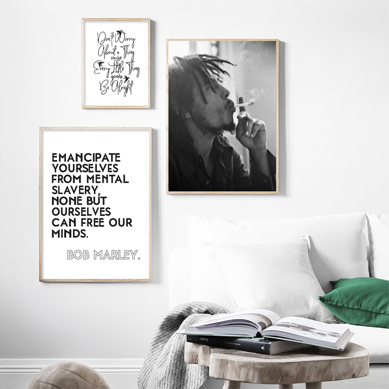 Bob Marley Print Jamaican Reggae Posters Music Wall Art Canvas Painting Song Lyrics Typography Wall Pictures Home Art Wall Decor