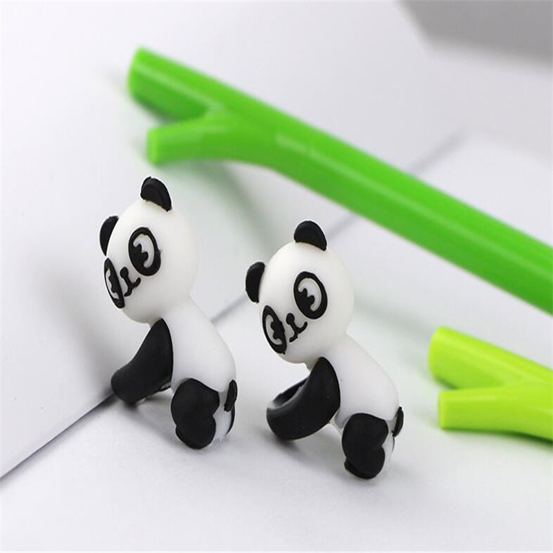 2pcs Cute Green Bamboo Panda Gel Pens Black Ink 0.5mm Stationery Office Chancery