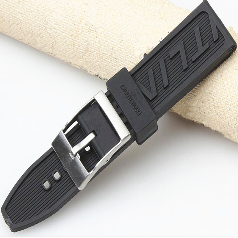 Image 5 - MERJUST Luxury Brand Silicone Rubber thick Watch band 22mm 24mm Black Watch Strap For navitimer/avenger/BreitlingWatchbands   -