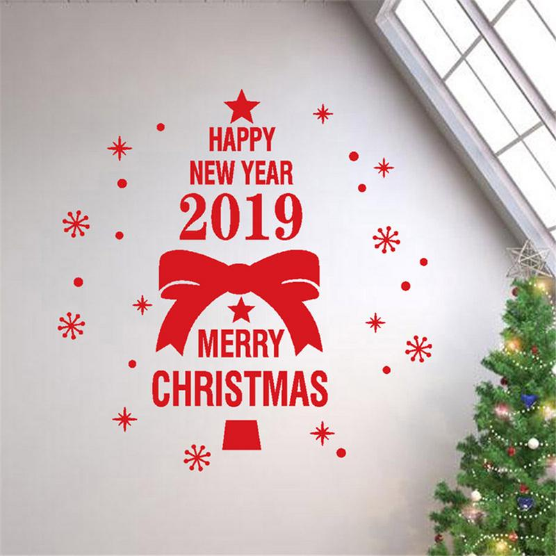 Merry Christmas 2019.Us 2 38 35 Off 2019 Merry Christmas Happy New Year Wall Stickers Christmas Theme Tree Bowknot Pattern Wall Window Stickers Decoration In Wall