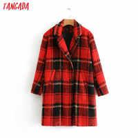 Tangada donne red controllato lungo cappotto di lana doppio petto cappotto di inverno della signora caldo di spessore manica lunga tasche outwear BE252