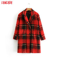 Tangada women red checked long woolen coat double breasted winter lady coat warm thick long sleeve pockets outwear BE252