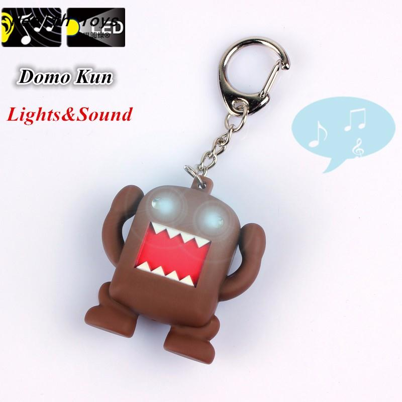 So Cool !!! Ultra Bright LED Cute Mini Domo Kun Action Figure Toys LED Flashlight Keychains With Sound Keychain Kids Gifts