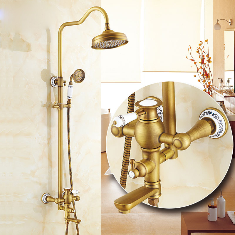 Antique Brass Torneira Do Banheiro Parede Do Banheiro Montado Chuveiro de Mão Cabeça de Chuveiro Kit Chuveiro Torneira Definir Porcelana Azul E Branca