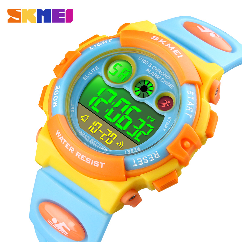 SKMEI Brand Sport Children Watch Electronic Watch for Kids Alarm Date Children Boys Girls Gift Waterproof LED Digital Kids Watch (1)