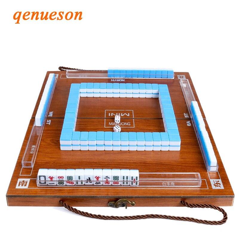 Hot Mini Mahjong Portable Folding Wooden Boxes Majiang Set Table Game Mah-jong Travel Travelling Board Game Indoor Entertainment