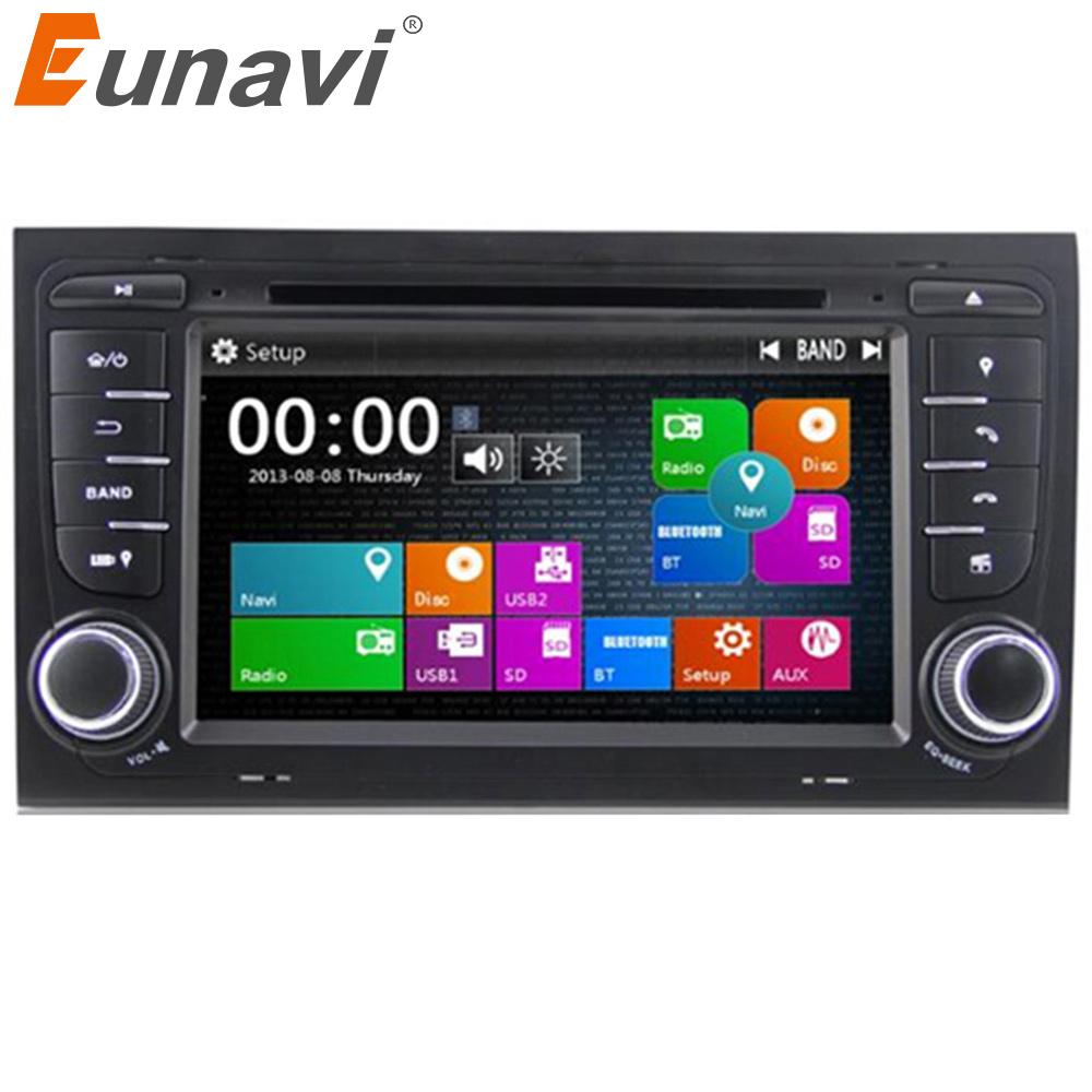 Eunavi 2 Din Car dvd Car GPS Navigation Car DVD Player For AUDI A4 S4 RS4 With 3G USB GPS BT IPOD FM RDS Subwoofer Free Map цены