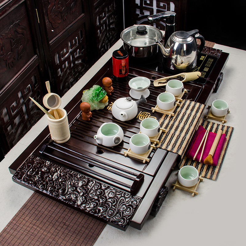 Yixing plateau à thé ensemble de thé théière thé et soucoupe ensemble porcelaine glaçure avec Induction cuisinière paquet théière en céramique