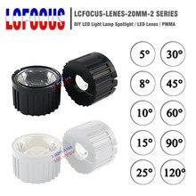 50 компл./лот 5 8 10 15 25 30 45 60 90 120 градусов линза LED 20 мм объектив PMMA+ кронштейн для использования в домашних условиях 1 Вт 3 Вт 5 Вт высокой мощности Мощность светодиодный чип COB
