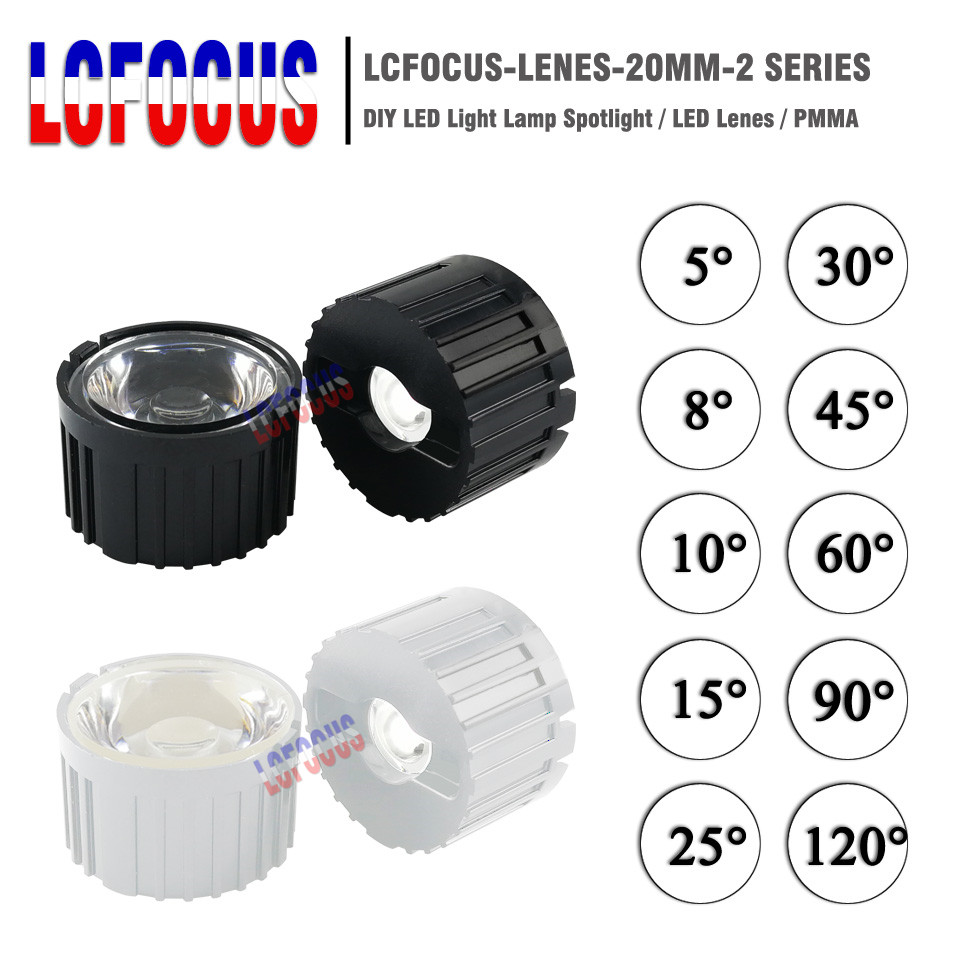20mm View Angle Condenser LED Acrylic 5-120 Degree Optical Lens Black Holder