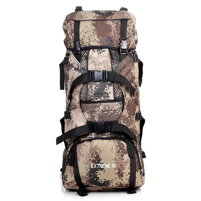 Camo Hiking Backpack Big Capacity 80L To 90L Could Hold Camping Tent Sleeping Bag Cushion And