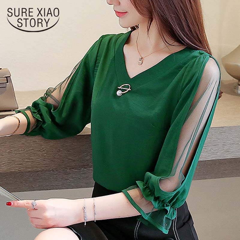 Womens tops and   blouses   2019 chiffon   blouse   ladies tops Beading Solid V-Neck korean fashion clothing red and green   shirt   3185 50