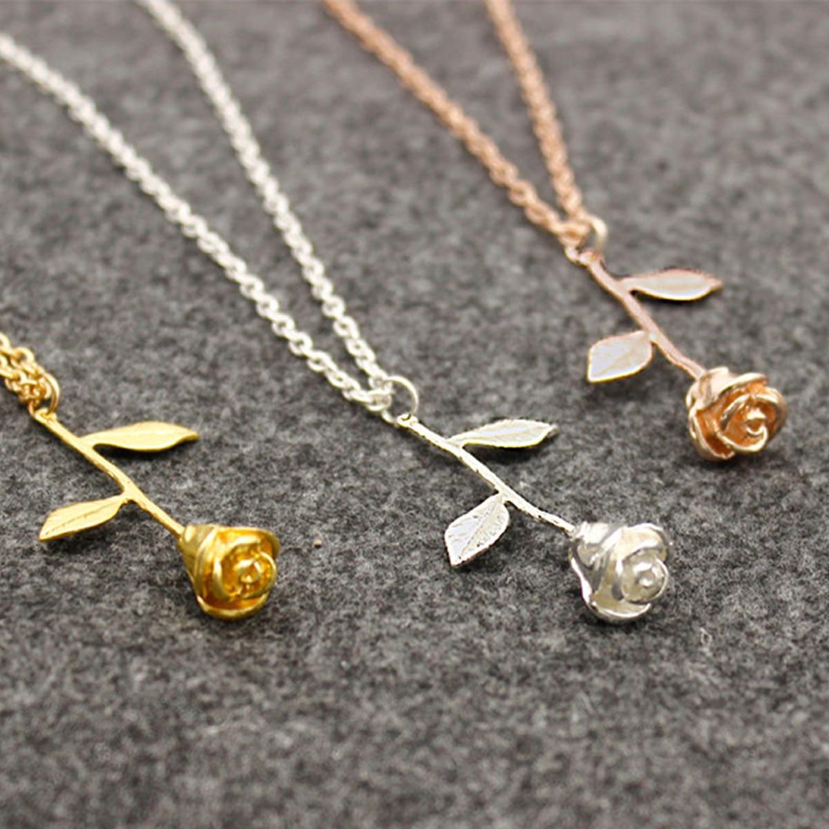Aliexpress Com Acheter Shellhard Rose Fleur Pendentif Chaine