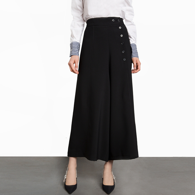 f45af24f30ab4 Black button up cropped wide leg pants for women high waisted ankle length palazzo  pants ladies OL formal work skirt trousers
