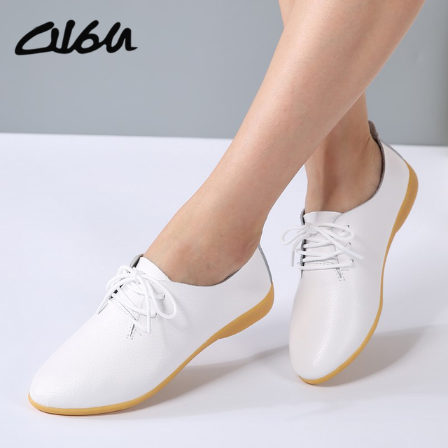 89e7d14924 O16U Spring Oxfords Women Flats Shoes Genuine leather pointed toe moccasins  ballerina Flat Lace up Ladies casual Soft Ballet