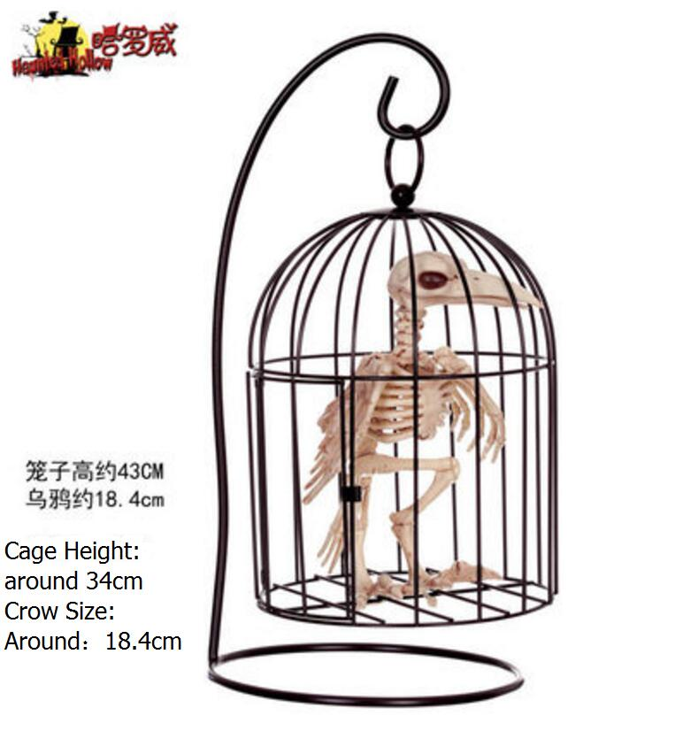 Good Quality Simulation Animal Crow Skeleton Mode With Cage For Party Bar Decor Handholding Bird Model In Diy Decorations From