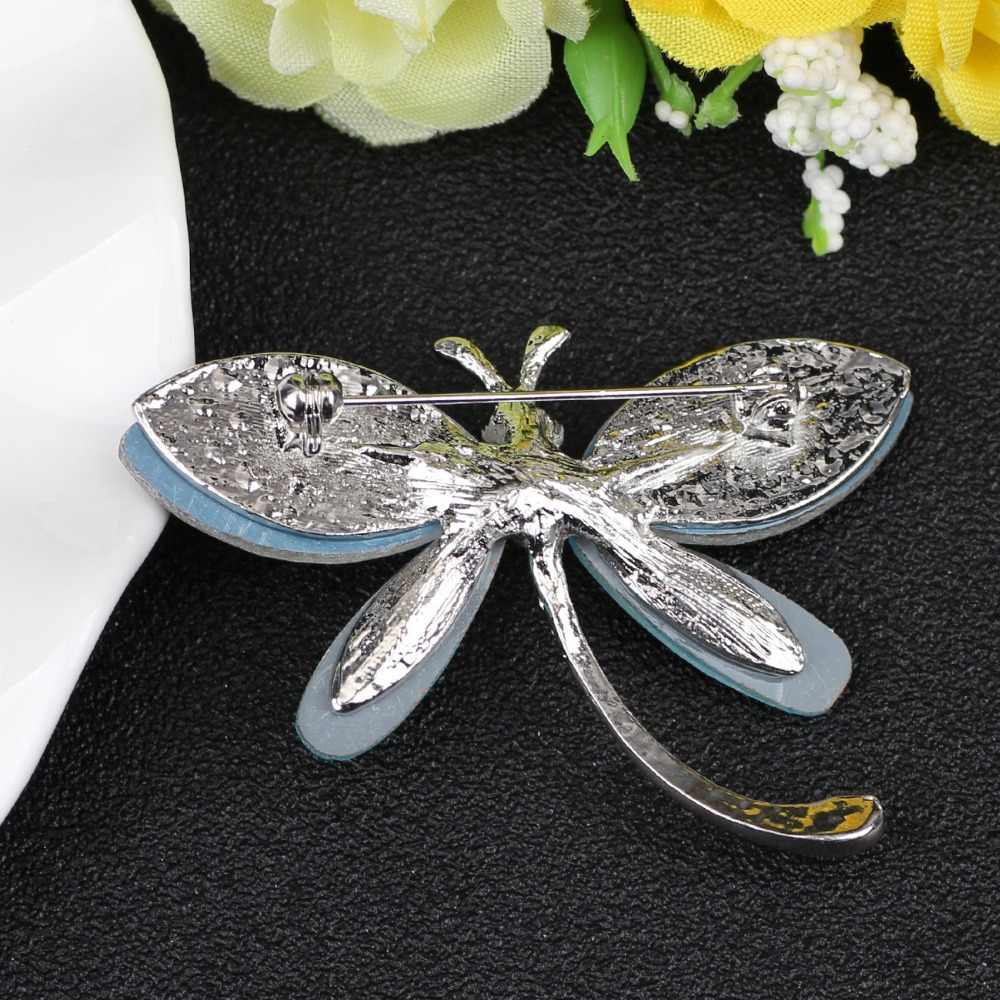 Bonsny Kristal Bunga Dragonfly Bros Pin Fashion Serangga Perhiasan untuk Wanita Gadis Hadiah Pernikahan Kerah Syal Dekorasi Bijoux