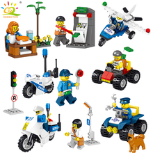 8pcs/set Police figures Helicopter car Motorcycle Building Blocks Compatible Legoed City Construction Bricks Toys For children