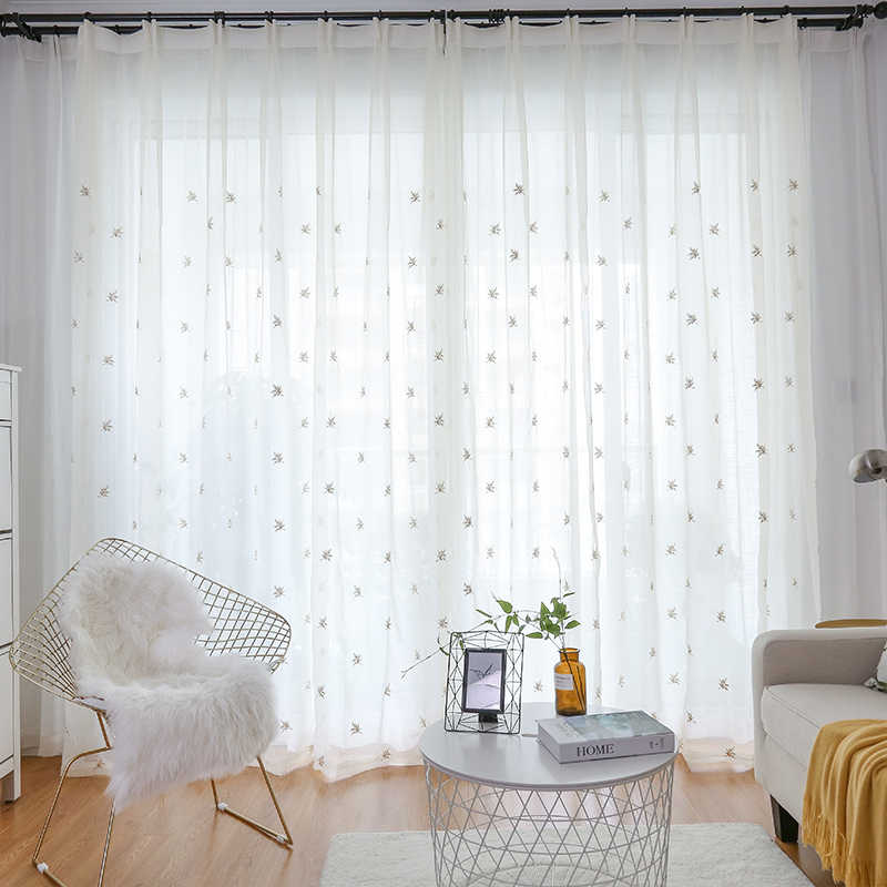 Maple Leaf Embroidered Window Gauze Yarn Personality Crumpled Tulle Curtains For Living Room Simple Pink Sheer Drapes MY099#40