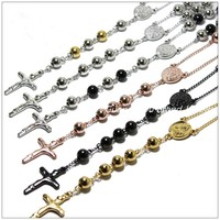 4 6 8mm Fashion Rosary Bead Chain Cross Pendant Necklace Stainless Steel Silver Gold Black Mens