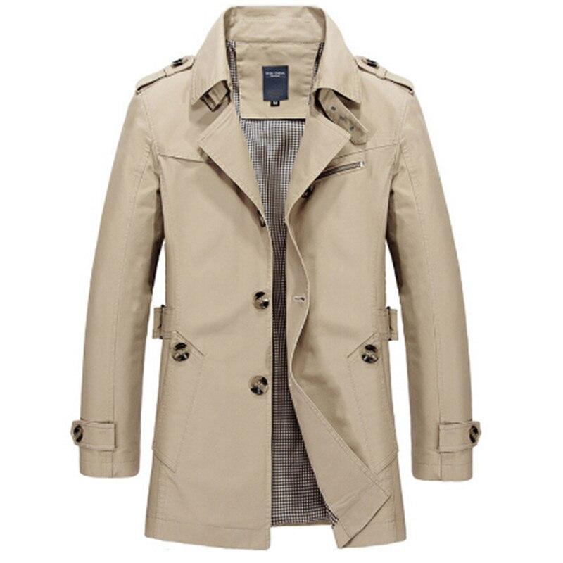 2017 Heißer Verkauf Mode Lässig Herbst Lange Windjacke Drehen-unten Mantel Masculino Plus Größe M-5xl