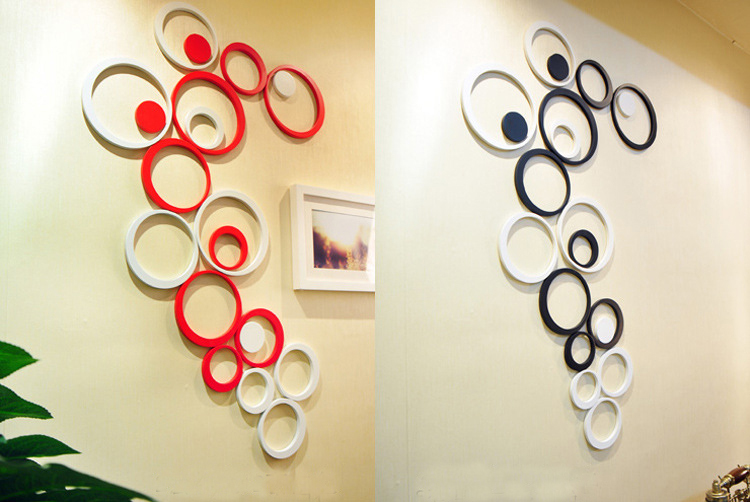 3 Dimensional Wall Art 5pcs/set wooden circle shape 3d three dimensional wall stickers