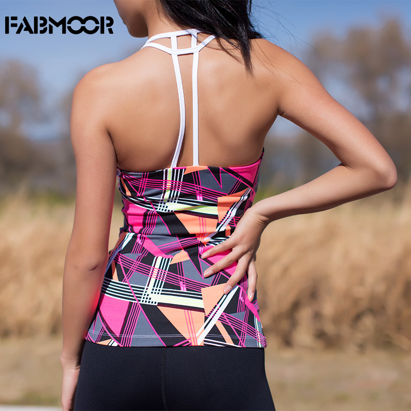 Womens Yoga Workouts Strappy Back Sport Tank: Women's Print Yoga Tops Sexy Strappy Back Athletic Shirts