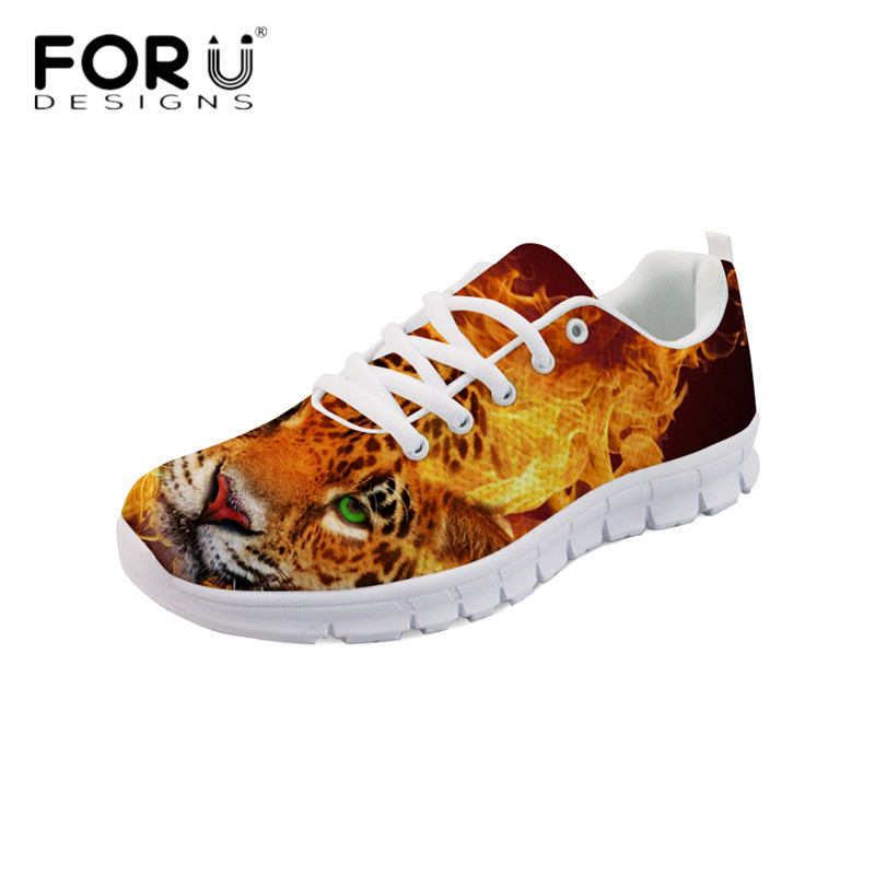 FORUDESIGNS Cool Flame Tiger Print Women Comfortable Flats Casual Breathable Zapatos Lightweight Sneakers Ladies Walking Shoes ladies cool floral print lightweight scarf