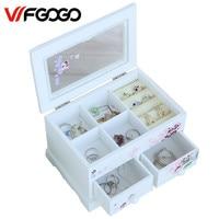 WFGOGO Custom Jewelry Makeup Organizer E0 E1 MDF Wooden Storage Box Beautiful Design Box Jewelry For