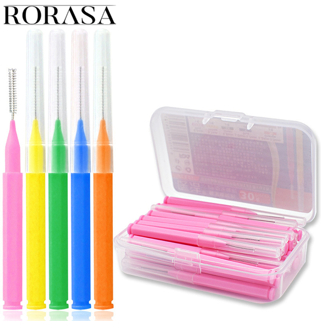 30 unids caja Interdental Slim cepillos Dentales palillo de dientes hilo  Dental cabeza Oral Higiene 6449d2f8852a