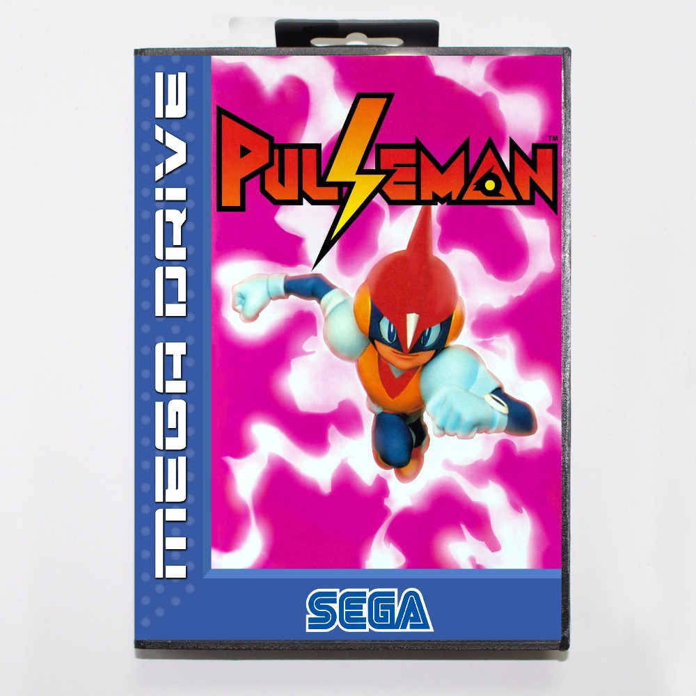 Pulseman Game Cartridge 16 bit MD Game Card With Retail Box For Sega Mega Drive