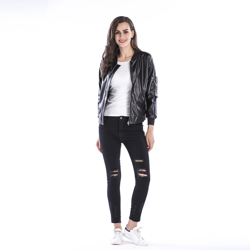 2019 Trend Zipper Leather Jacket Collar Black Jacket Leather Female Pu Casual Temperament Leather Motorcycle Female Jacket in Leather Jackets from Women 39 s Clothing