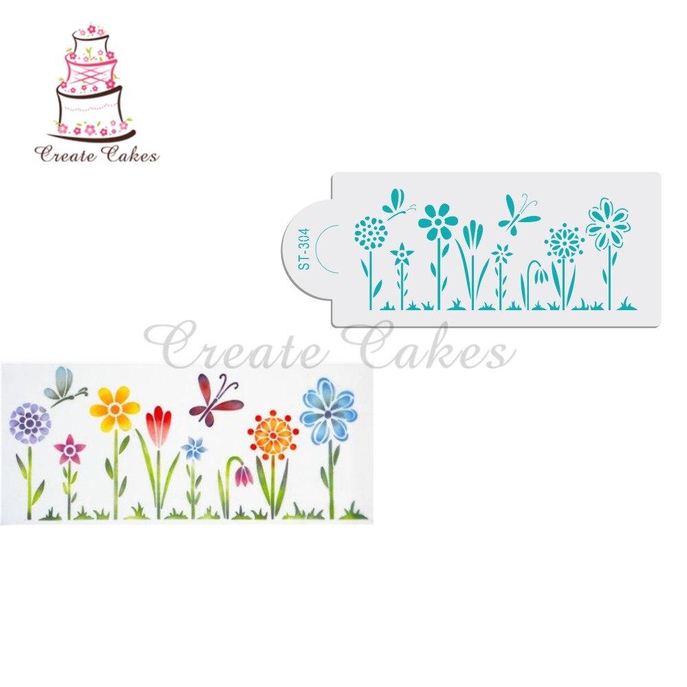 Kitchen Stencil Aliexpresscom Buy Whimsical Flowers Cake Stencil Side Cake
