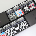 Free Shipping Male cartoon letter flag leopard print pantiesw cotton mid waist men's boxer panties gift box set 4pcs/lot