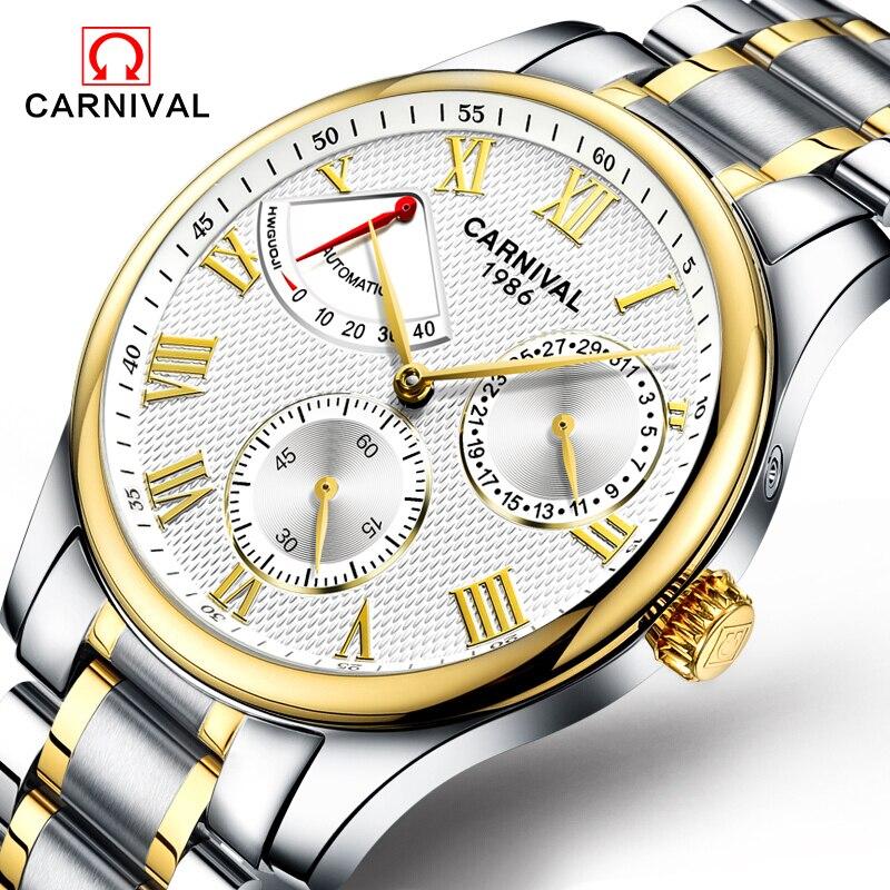 2017 Neue Mode Herrenuhr Karneval Mechanische Uhr Edelstahl Große Zifferblatt Automatische Stilvolle Klassische Skeleton Armbanduhr Uhren