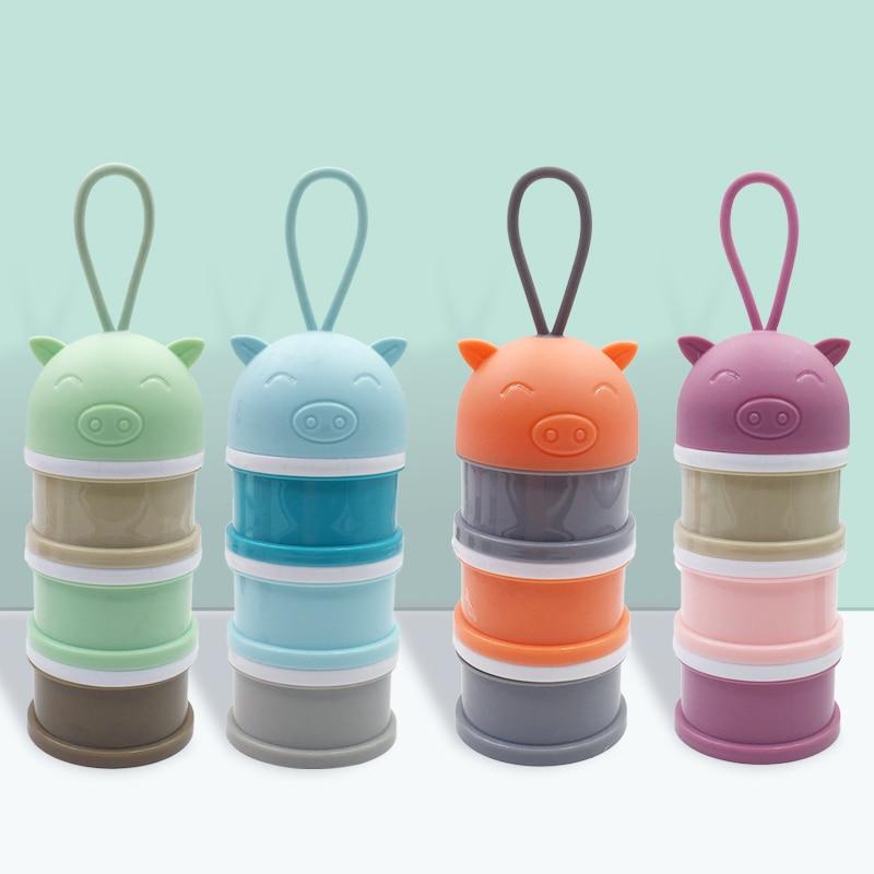 Mutter & Kinder 4 Layer Cartoon Milchpulver Lagerung Baby-milchpulver Container Tragbare Formel Lebensmittel Dispenser 4 Schicht Bilden