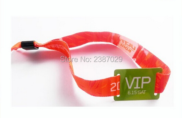 Custom Printing 125khz Nylon Woven Rfid Wristband/Bracelet with TK4100 Chips for Marathon Sports need pay more $20 for sticker printing custom