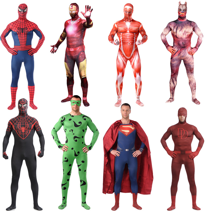 High Quality SuperHero Cosplay Halloween Adult Superman Werewolf Costumes Spandex Anime Full body Costume Zentai Suits Bodysuit