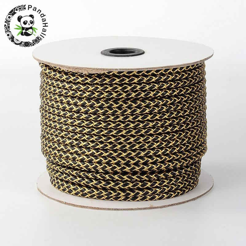 Braided Korean PU Leather Cord Black 5mm about 50yards roll