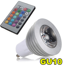 GU10 3W 16 Color RGB LED Light Bulb Lamp + IR Remote Control