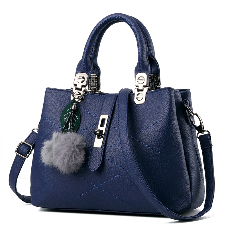 SMINICA fur ball fashion women handbag solid leather Lock Diamond Lattice pu leather bag Female shoulder bag Ladies Crossbody