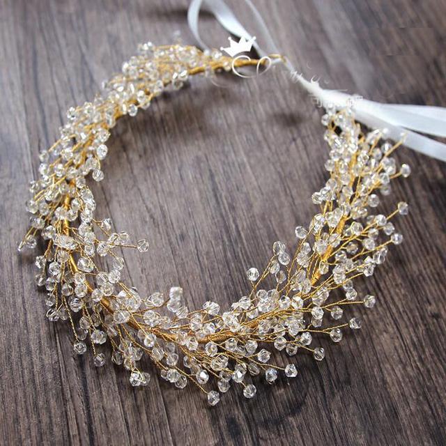 Grânulos de vidro de cristal casamento romântico malha trançada handmade headband hairband acessórios para o cabelo de noiva de noiva de alta qualidade