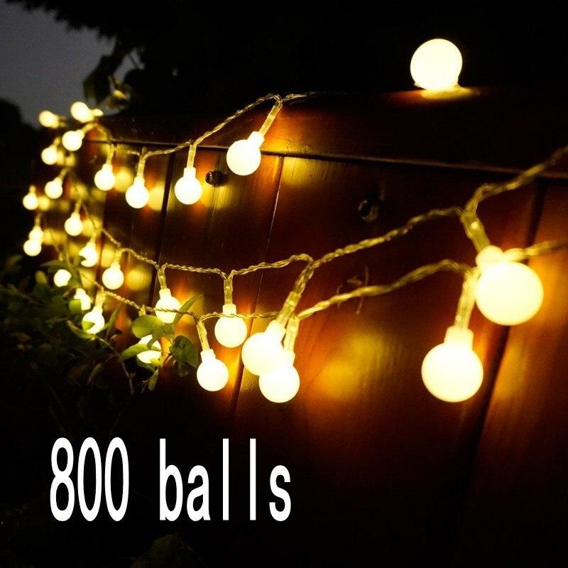 100 м 800 LED шарики Фея Строка декоративные огни Батарея работает Свадебная вечеринка Рождество открытый украшения гирлянды