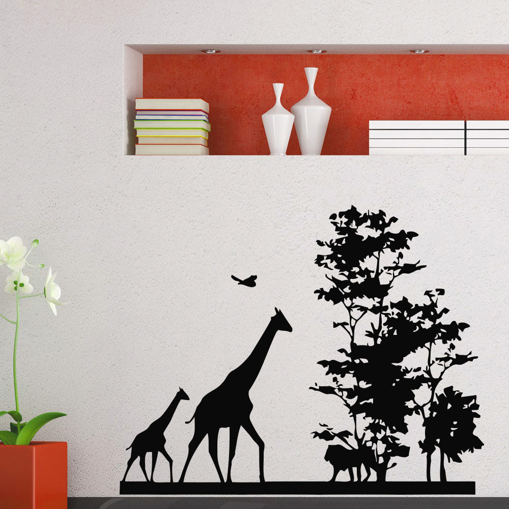 2015 New Arrival African Animal Wall Decal Safari Giraffe Tree Mural Art Wall Sticker Removable Home decoration
