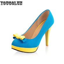 YOUGOLUN Woman Pumps high heels platform ladies Bowknot Heel womens pumps Thin heels Sexy office shoes for women Big size US 9.5