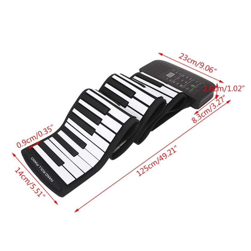 cd34d3d8159 ... Portable 88 Keys Keyboard Piano Silicone Flexible Roll Up Piano  Foldable Keyboard Hand-rolling Piano