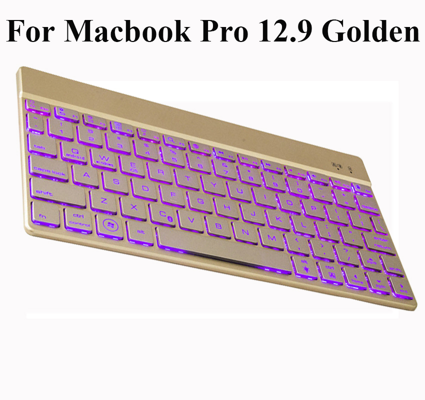 ФОТО For Apple iPad Pro 12.9 inch 7 Colors Backlight Backlit Ultrathin Aluminum Wireless Bluetooth Keyboard for ipad pro 9.7